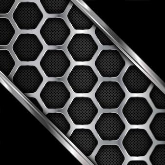 金属の背景。六角形の幾何学模様。