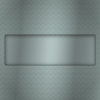 Metal background of tread plate texture with gap and steel textured plate for your text.