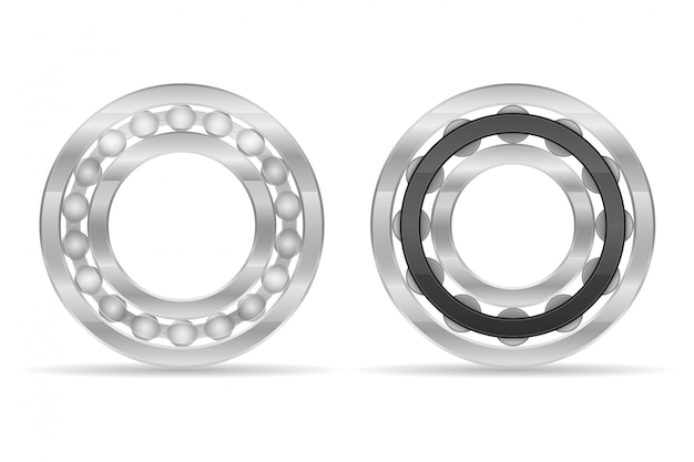 Metal ball and roller bearing