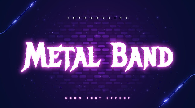Metal band editable text with glowing neon effect
