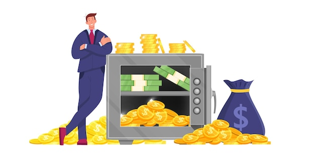 Metal bank safe finance illustration