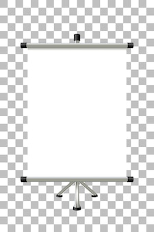 Metal banner stand with a blank screen on transparent
