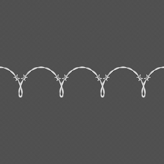 Metal barbed wire horizontal seamless border template and elements object.