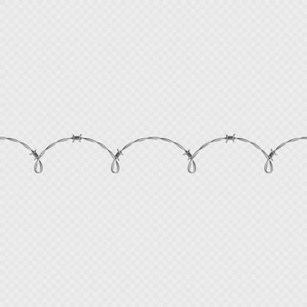 Metal barbed wire horizontal seamless border