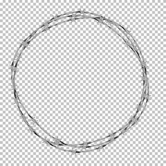 透明な背景に金属有刺鉄線