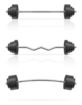 Metal barbell for muscle building in gym