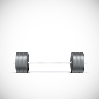 Metal barbell. realistic icon
