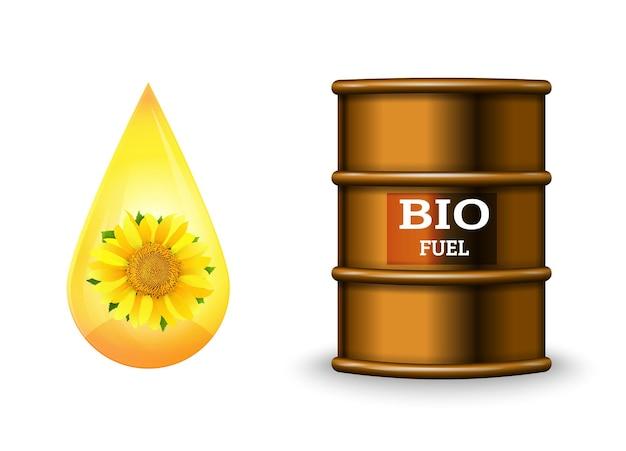 Металлическая бочка с биотопливом и капля масла на белом фоне