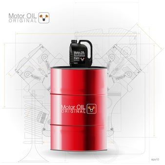 Metal barrels, plastic canister on white background,  illustration. technical illustrations.