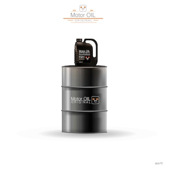 Metal barrels, plastic canister on white background,  illustration
