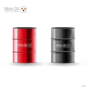 Metal barrels on white background,  illustration