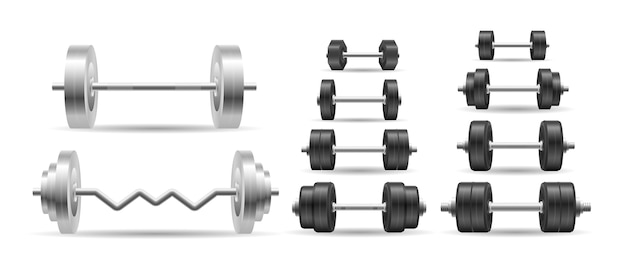 Metal black dumbell isolated on white