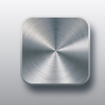 Metal blank button template with chrome texture, realistic shadow and light background