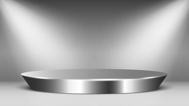Metal blank podium with spotlights. round glossy pedestal. scene.