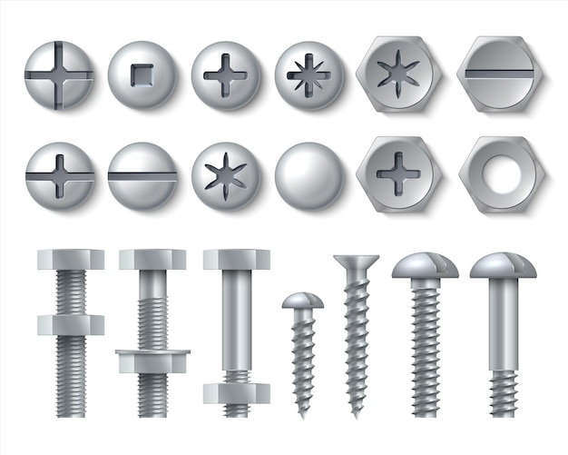 Metal bolt and screw illustration