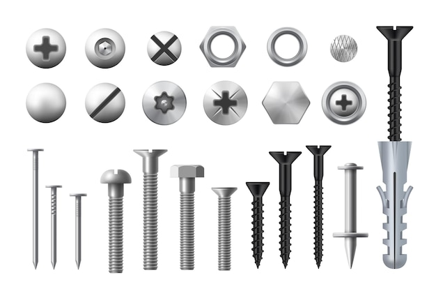 Metal bolts, screws, nuts and nails. realistic vector metal fasteners and rivets, woodwork and metal works equipment, washers and self-tapping or thread-cutting screws