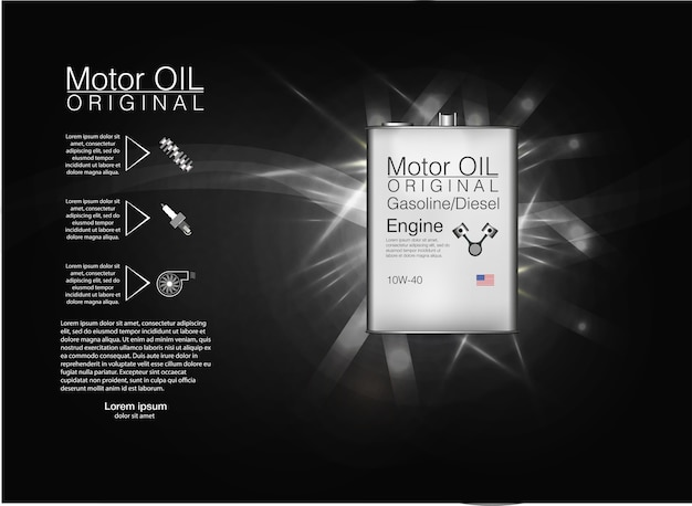 Metal bottle engine oil background,  illustration.