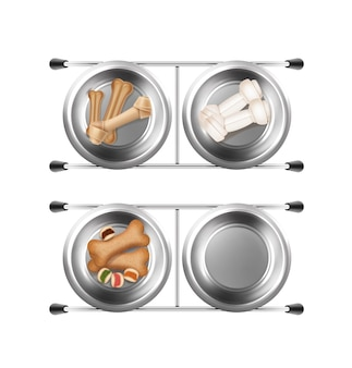 Metal bowls for pet feeding with bones and snacks 3d illustrations