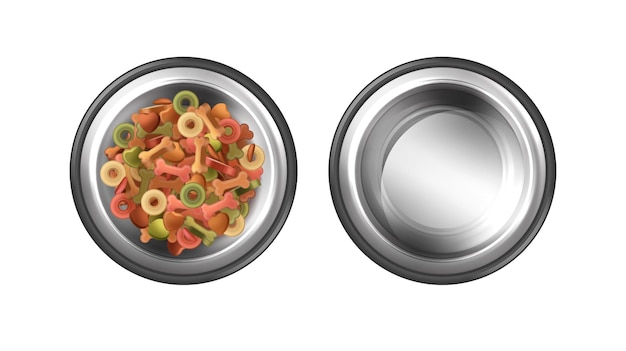 Metal bowls for pet feeding with pet food and water 3d illustrations