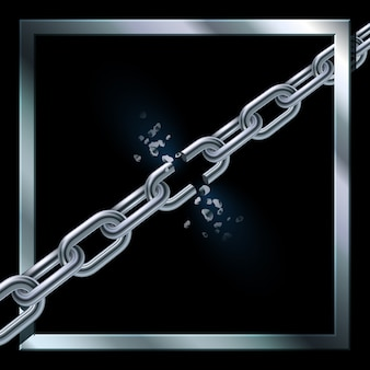 Metal broken chain on black background with metal squared frame. freedom concept.  .