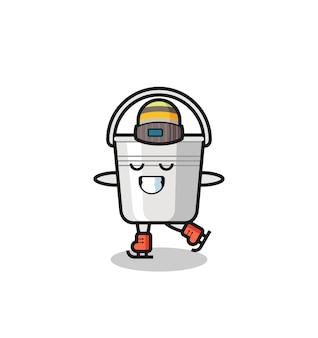実行するアイススケート選手としての金属製のバケツ漫画、tシャツ、ステッカー、ロゴ要素のかわいいスタイルのデザイン