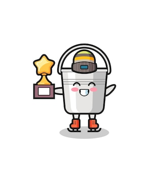 Metal bucket cartoon as an ice skating player hold winner trophy , cute style design for t shirt, sticker, logo element