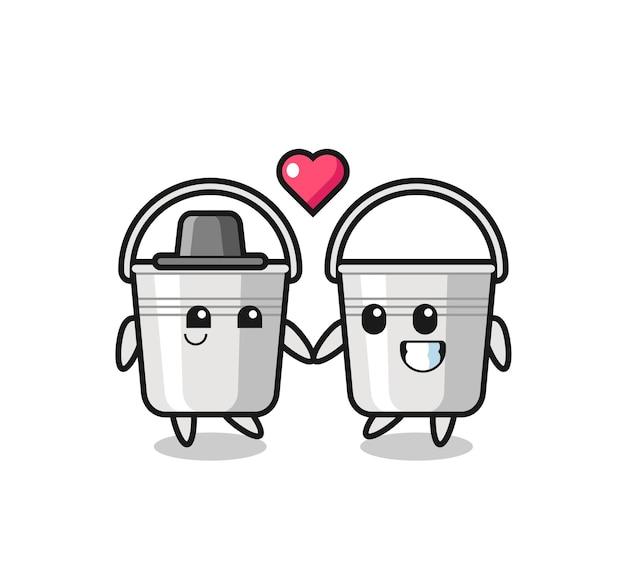 사랑 제스처, 티셔츠, 스티커, 로고 요소에 대한 귀여운 스타일 디자인에 빠지는 금속 버킷 만화 캐릭터 커플