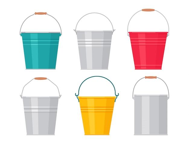 Metal bucket.   illustration. flat design. pail icon.