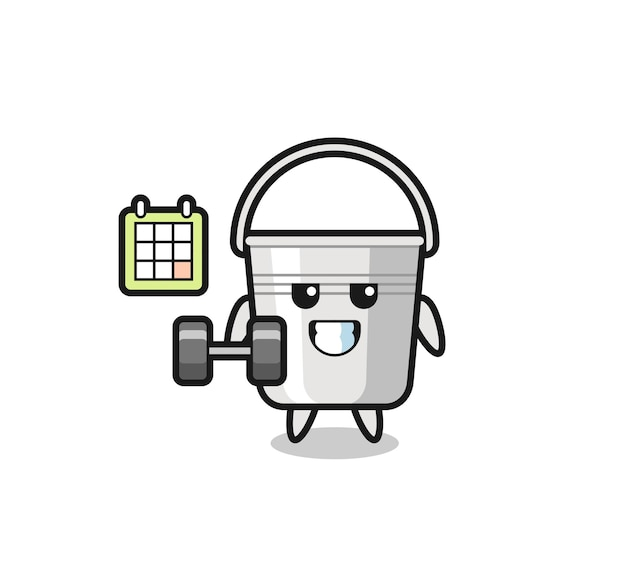 Metal bucket mascot cartoon doing fitness with dumbbell , cute style design for t shirt, sticker, logo element