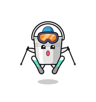 스키 선수로서의 금속 버킷 마스코트 캐릭터, 티셔츠, 스티커, 로고 요소를 위한 귀여운 스타일 디자인