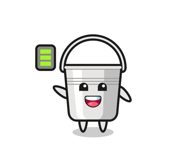 Metal bucket mascot character with energetic gesture , cute style design for t shirt, sticker, logo element