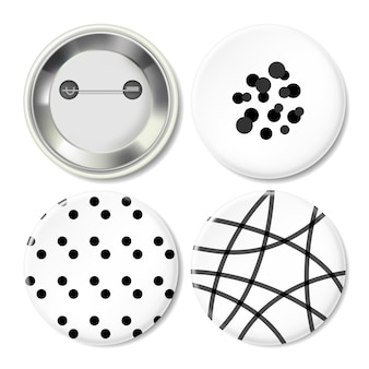 Metal button badge with minimal black & white geometric pattern printing.