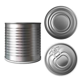 Metal can or tin illustration of 3D realistic container for food preserves or conserves.
