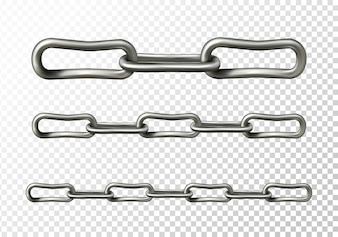 Metal chain illustration of realistic 3D metallic or silver chain links