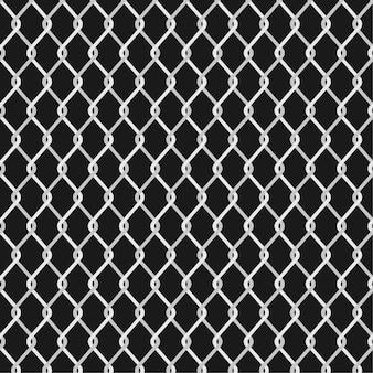 金属チェーンリンクフェンスの背景。ワイヤーフェンスのパターンが黒に分離されました。