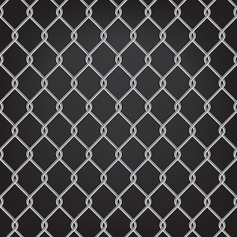 Metal chain link fence seamless on black
