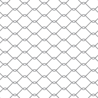 Metal chain link fence seamless on white