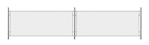 Metal chain link fence, segment of rabitz grid isolated on white background. realistic illustration of steel wire mesh, security barrier for prison, military chainlink boundary