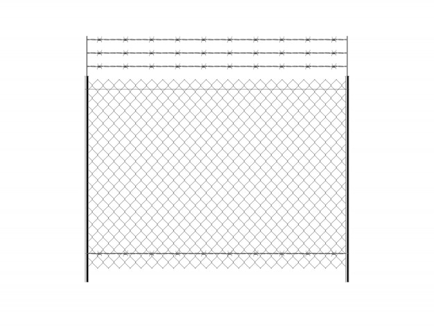 Metal chain link fence.