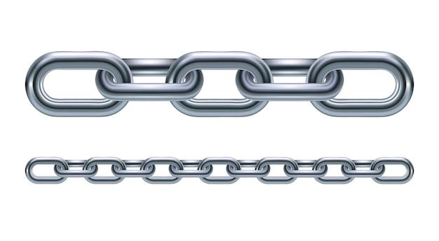 Иллюстрация звеньев металлической цепи на белом фоне