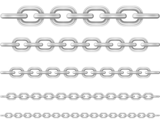 Металлические звенья цепи, изолированные на белом фоне
