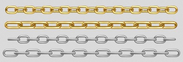 Набор металлических цепочек из серебряных, стальных или золотых звеньев