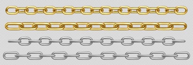 Metal chain of silver, steel or golden links set