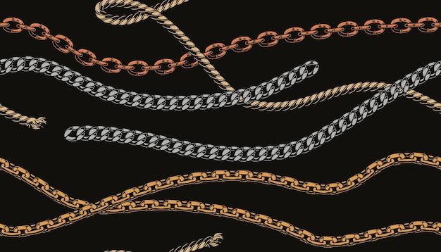 スタイリッシュなメタルチェーンとロープパターン