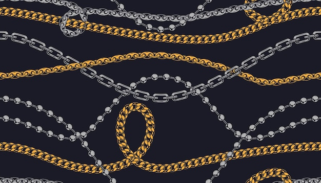 Metal chains and necklaces pattern brushes in style