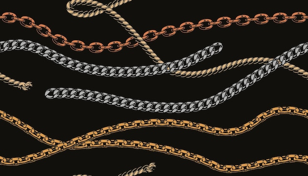 Metal chains and rope pattern in style