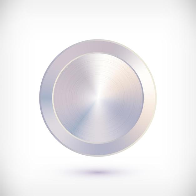 Metal chrome circle metallic textured steel button.