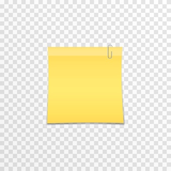 Metal clip attached to paper on an isolated transparent background realistic paper notes