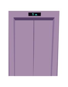 Металлические закрытые двери лифта, вход в лифт и индикатор этажа мультяшный векторная иллюстрация