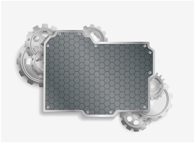 Metal cogs wheels with steel background